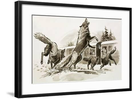 Passengers in a Snowbound Train Fight Off Starving Wolves-Ralph Bruce-Framed Art Print