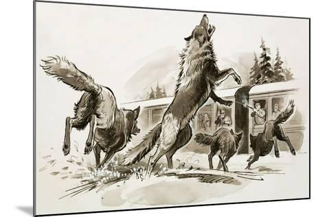 Passengers in a Snowbound Train Fight Off Starving Wolves-Ralph Bruce-Mounted Giclee Print