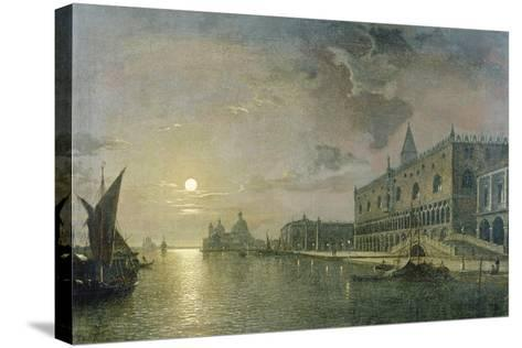 Moonlit View of the Bacino Di San Marco, Venice, with the Doge's Palace-Henry Pether-Stretched Canvas Print