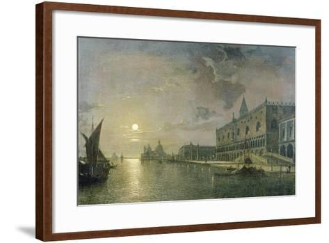 Moonlit View of the Bacino Di San Marco, Venice, with the Doge's Palace-Henry Pether-Framed Art Print