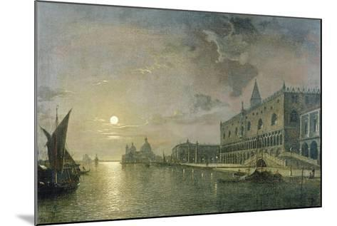 Moonlit View of the Bacino Di San Marco, Venice, with the Doge's Palace-Henry Pether-Mounted Giclee Print