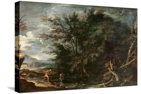 Landscape with Mercury and the Dishonest Woodman, C.1650-Salvator Rosa-Stretched Canvas Print