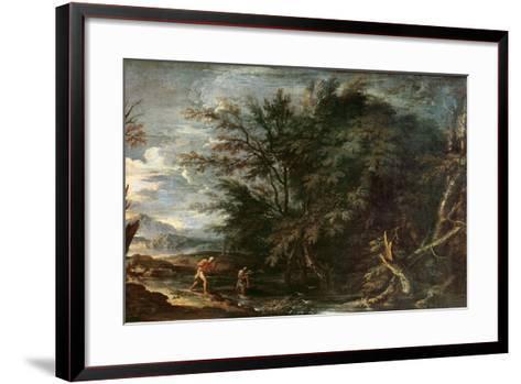 Landscape with Mercury and the Dishonest Woodman, C.1650-Salvator Rosa-Framed Art Print