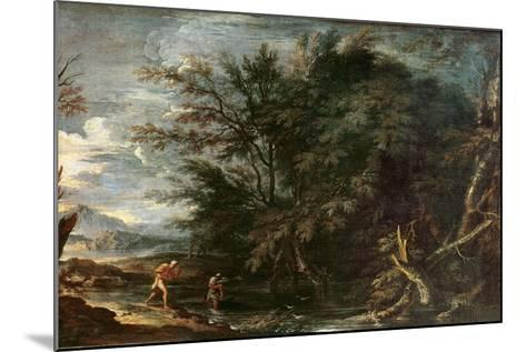 Landscape with Mercury and the Dishonest Woodman, C.1650-Salvator Rosa-Mounted Giclee Print