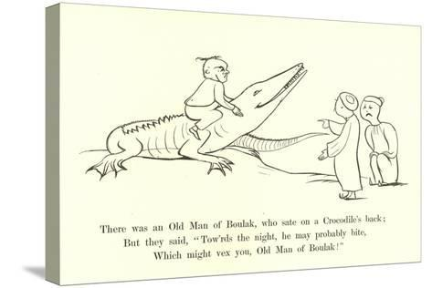 There Was an Old Man of Boulak, Who Sat on a Crocodile's Back-Edward Lear-Stretched Canvas Print