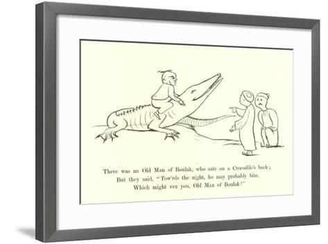 There Was an Old Man of Boulak, Who Sat on a Crocodile's Back-Edward Lear-Framed Art Print