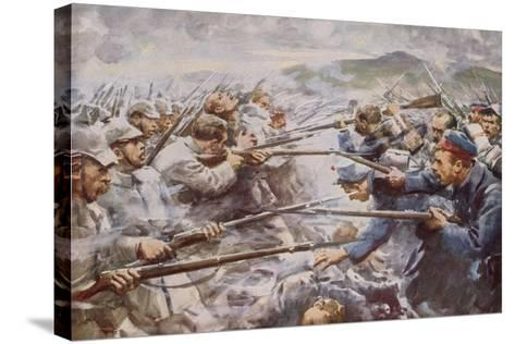 Belgians Repelling a Fierce German Attack at Liege-Arthur C. Michael-Stretched Canvas Print