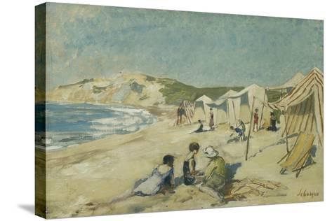 The Beach at Pointe St Gildas; La Plage a La Pointe St Gildas, C.1920-Henri Lebasque-Stretched Canvas Print