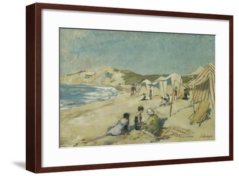 The Beach at Pointe St Gildas; La Plage a La Pointe St Gildas, C.1920-Henri Lebasque-Framed Art Print