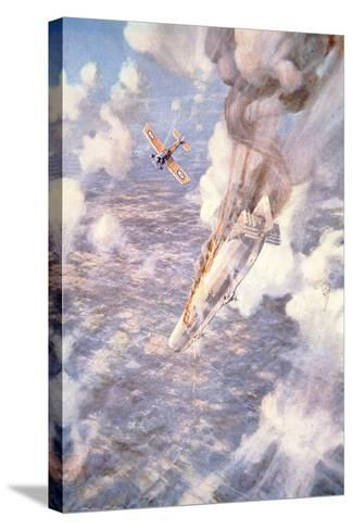 Death to the Murderers' - Lt Warneford Shoots Down a Zeppelin Raider-Frederick Gordon Crosby-Stretched Canvas Print