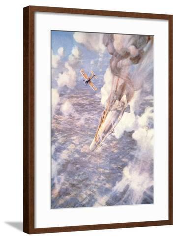 Death to the Murderers' - Lt Warneford Shoots Down a Zeppelin Raider-Frederick Gordon Crosby-Framed Art Print