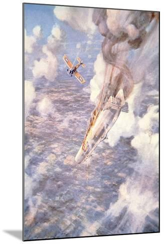 Death to the Murderers' - Lt Warneford Shoots Down a Zeppelin Raider-Frederick Gordon Crosby-Mounted Giclee Print