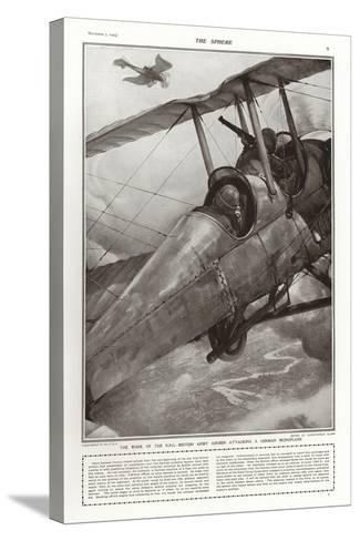 British Army Airmen of the Rfc Attacking a German Monoplane, World War I-Addison Thomas Millar-Stretched Canvas Print