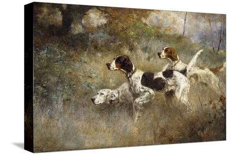 The Setters Three, Bob, Bill and Ginger on a Triple Point, 1927-Percival Leonard Rosseau-Stretched Canvas Print
