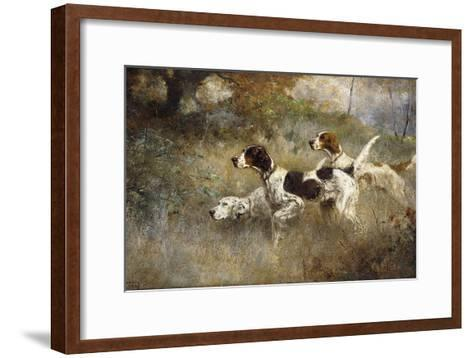 The Setters Three, Bob, Bill and Ginger on a Triple Point, 1927-Percival Leonard Rosseau-Framed Art Print