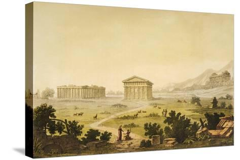 View of Temples in Paestum at Syracuse, Italy-Giulio Ferrario-Stretched Canvas Print