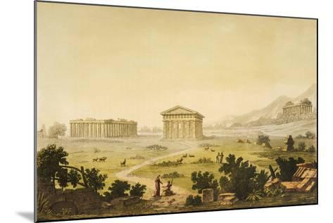 View of Temples in Paestum at Syracuse, Italy-Giulio Ferrario-Mounted Giclee Print