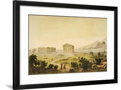 View of Temples in Paestum at Syracuse, Italy-Giulio Ferrario-Framed Art Print