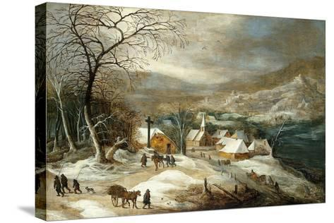 A Winter Landscape, with Figures on a Road by a Village-Joos or Josse de, The Younger Momper-Stretched Canvas Print