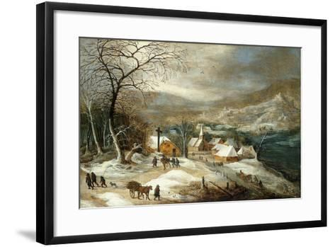 A Winter Landscape, with Figures on a Road by a Village-Joos or Josse de, The Younger Momper-Framed Art Print