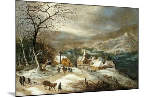 A Winter Landscape, with Figures on a Road by a Village-Joos or Josse de, The Younger Momper-Mounted Giclee Print