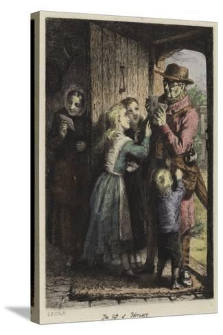 A Postman Delivering Mail to a House on Valentine's Day-George Bernard O'neill-Stretched Canvas Print