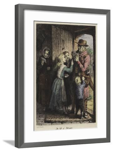 A Postman Delivering Mail to a House on Valentine's Day-George Bernard O'neill-Framed Art Print