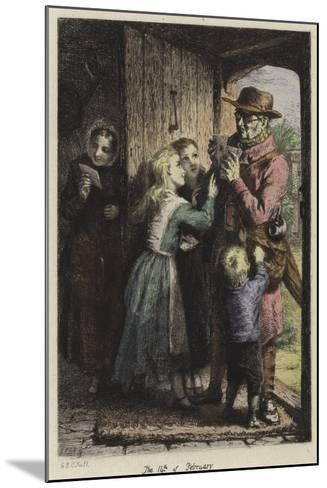 A Postman Delivering Mail to a House on Valentine's Day-George Bernard O'neill-Mounted Giclee Print