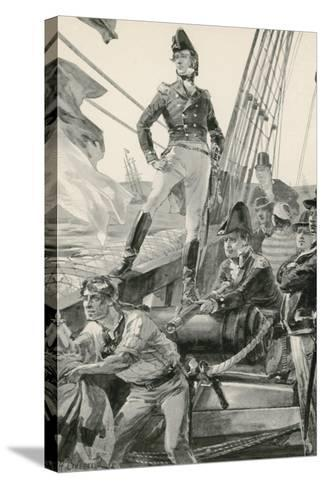 Lord Cochrane Signals for Assistance to Attack the French Fleet-William Heysham Overend-Stretched Canvas Print