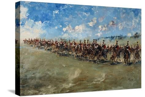 16th Lancers Advancing at Gallop, 1898-Edward Matthew Hale-Stretched Canvas Print