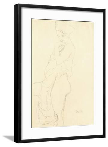 Nude Standing Left, Holding a Towel to the Body, 1917-Gustav Klimt-Framed Art Print