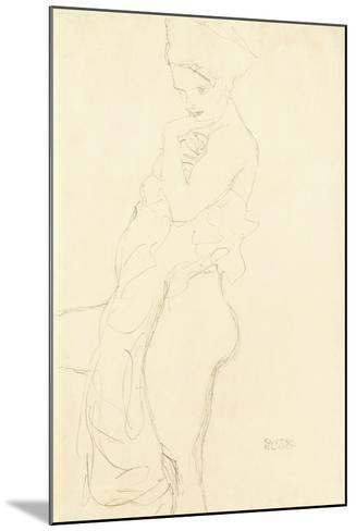Nude Standing Left, Holding a Towel to the Body, 1917-Gustav Klimt-Mounted Giclee Print