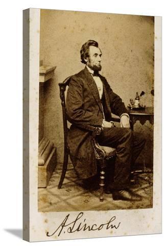 A Signed Carte-De-Visite Photograph of Abraham Lincoln, 1861-Alexander Gardner-Stretched Canvas Print