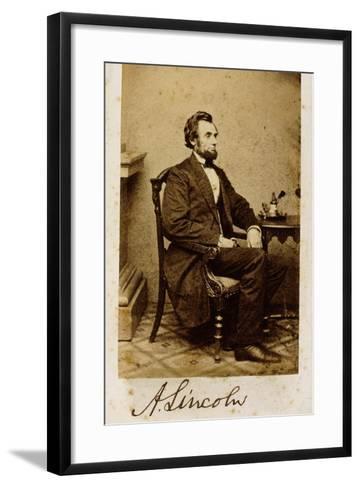 A Signed Carte-De-Visite Photograph of Abraham Lincoln, 1861-Alexander Gardner-Framed Art Print
