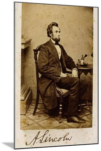 A Signed Carte-De-Visite Photograph of Abraham Lincoln, 1861-Alexander Gardner-Mounted Giclee Print