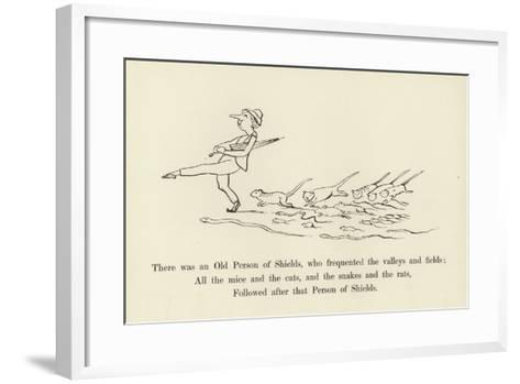 There Was an Old Person of Shields, Who Frequented the Valleys and Fields-Edward Lear-Framed Art Print