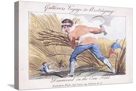 Gulliver's Voyage to Brobdignag, Discovered in the Corn Field, 1805--Stretched Canvas Print