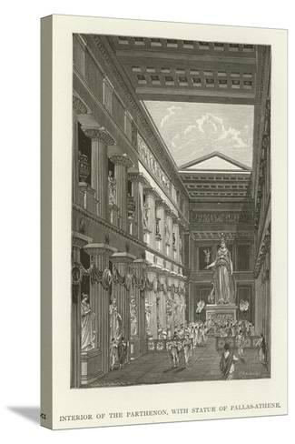 Interior of the Parthenon, with Statue of Pallas-Athene--Stretched Canvas Print