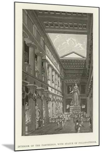 Interior of the Parthenon, with Statue of Pallas-Athene--Mounted Giclee Print