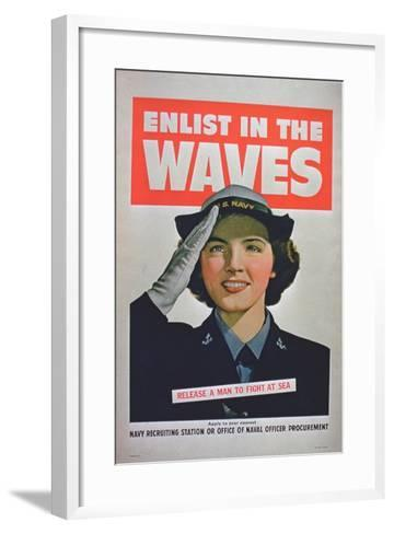 Enlist in the Waves, Release a Man to Fight at Sea', 2nd World War Poster--Framed Art Print