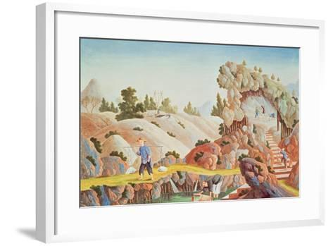 Peasants Quarrying and Collecting Kaolin for a Porcelain Factory--Framed Art Print