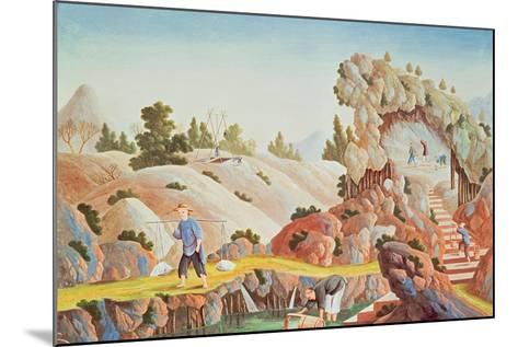 Peasants Quarrying and Collecting Kaolin for a Porcelain Factory--Mounted Giclee Print