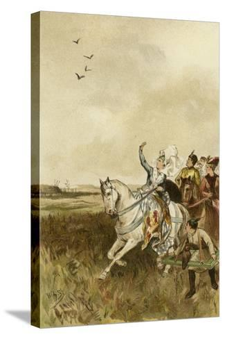 Jacqueline, Countess of Hainaut Hunting with Falcons-Willem II Steelink-Stretched Canvas Print