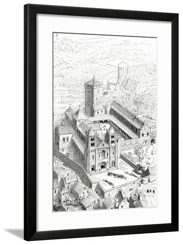 View of the Abbey of Cluny and the Carolingian Cathedral-Eugene Emmanuel Viollet-le-Duc-Framed Art Print