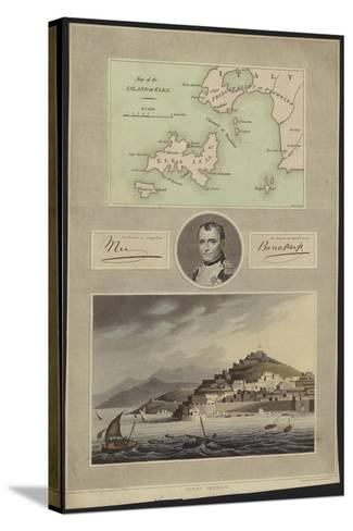 Portrait of Napoleon Bonaparte with a Map and a View of Elba--Stretched Canvas Print