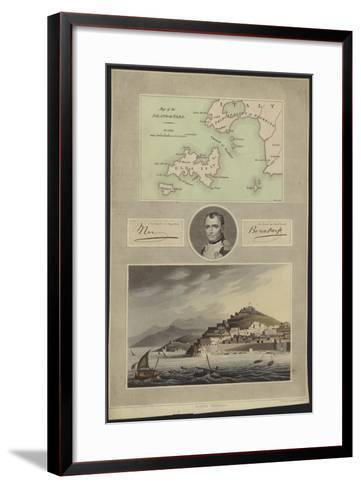 Portrait of Napoleon Bonaparte with a Map and a View of Elba--Framed Art Print