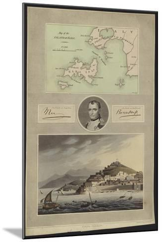 Portrait of Napoleon Bonaparte with a Map and a View of Elba--Mounted Giclee Print