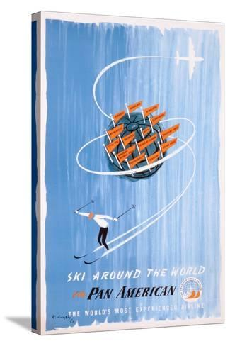 Poster Advertising 'Pan American' Flights to Skiing Destinations, 1956--Stretched Canvas Print