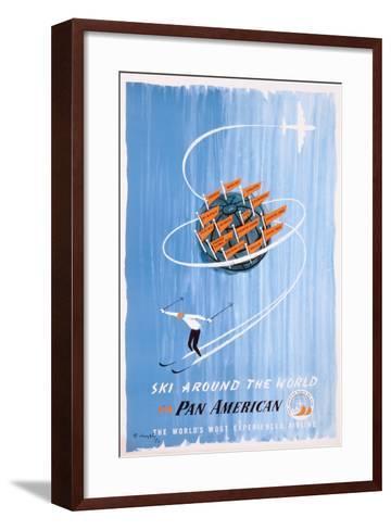 Poster Advertising 'Pan American' Flights to Skiing Destinations, 1956--Framed Art Print