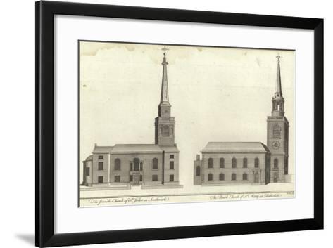 Church of St John, Southwark and Church of St Mary, Rotherhithe--Framed Art Print